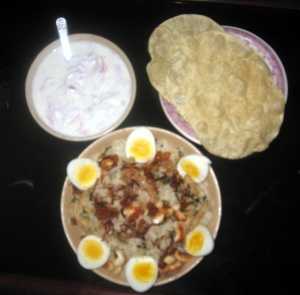 Served with Pappad and Onion Raita